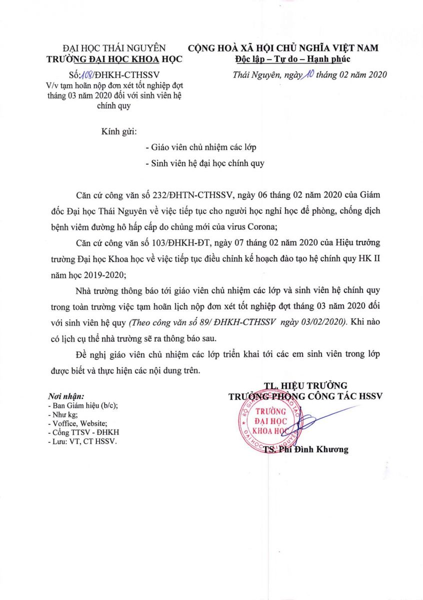 Thông báo về việc tạm hoãn nộp đơn xét tốt nghiệp đợt tháng 03 năm 2020 đối với sinh viên hệ chính quy trường Đại học Khoa học Thái Nguyên.